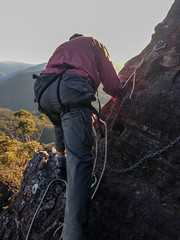 Geoff on top belay ([S u m m i t] s c a p e) Tags: australia bushwalking newsouthwales megalong narrowneckplateau ubmbc