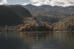 Lake Bled (euvecm) Tags: sunset cloud sun lake water bled