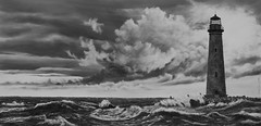 sandisland-wave1 (bobbyraygoldsmith) Tags: lighthouse waves ocean storm drawing pencildrawing graphite painting dramatic