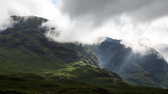 Glen coe fleeting light (Sunshinenshadows) Tags: glencoe highlands scotland mountains sunlight sunbeams clouds green
