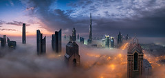 Tempest || Dubai (blame_the_monkey) Tags: city travel panorama rooftop fog skyline architecture night sunrise dubai cityscape pano uae fujifilm bluehour xpro2 burjkhalifa