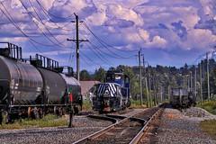 Down the Line (robinlamb1) Tags: blue sky cars robin clouds train bc power rail railway line lamb locomotive poles abbotsford tankers