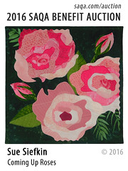 Coming Up Roses by Sue Siefkin (saqaart) Tags: artquilts saqa fiberart quilts textiles artwork stitched layered flowers flower roses rosebud