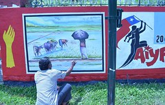 20th state conference of the AIYF in Thiruvananthapuram (legend_news) Tags: thiruvananthapuram kerala india a graffiti being prepared by an artist connection with 20th state conference aiyf tuesday uni