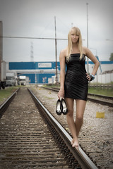Mira on track (mhy design) Tags: sexy girl track rail railway wetlook shining gloss black tubetop short glossy dress outdoor blonde longhair woman legs shoes highheels barefeet tight shiny outfit model beautiful nice pose modeling poses mira mirag mhydesign girls minidress stand standing walking walk bracelet wristband busty cute pretty beauty glamour pinup eyes people personen industrial photoshop germany deutschland badenwrttemberg baden karlsruhe rheinhafen fashion mhy portrait de sony dslr a77 sonya77v carryingshoes