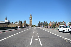 View of Houses of Parliament and Portcullis House (Josh6001) Tags: outdoor road bridge centre middle perspective london westminister westministerbridge parliament housesofparliament portcullishouse taxi britain uk unitedkingdom people busy architecture gothic buildings