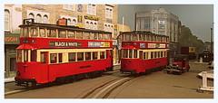 Passing Felthams [Explored] (kingsway john) Tags: london tower scale austin layout model cab taxi transport tram shelf plastic kit tramway 176 lowloader oogauge explored