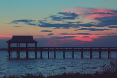 there's a feelin' i get when i look to the west (jeneksmith) Tags: pink blue sunset sky beach nature water colors clouds canon mississippi coast pier natural coastal pastels waterscape bayofstlouis hendersonpoint