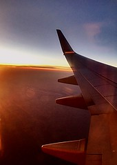 Sunset Flight (Lucyrk in LA) Tags: sky window cleanthewindows dusk evening working work travel wanderlust windowseat pretty bright sun night fly wing americanairlines airplanewing flying flight sunset iphone lucyrendlerkaplan lucyrkinla airborn up july 2016