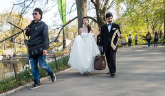 Bride, Groom and Photographer in Central Park (UrbanphotoZ) Tags: nyc newyorkcity lake ny newyork bag groom bride path centralpark manhattan tripod bowtie sneakers suit westside weddingdress props photogapher pictureframe