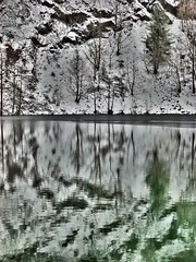 Winterly Tristesse at a Quarry Pond 06 (MJWoerner49) Tags: outdoor nature gloominess murkiness rees weather winter ice rocks structure surface reflection cold frosty winterly wintery wintry lake pond pool quarry quarrypond glacial icy