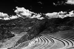Pisac Terraces (Jason Neely) Tags: pisac peru terraces sky clouds mountains landscape blackandwhite monochrome
