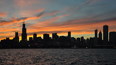 Chicago Silhouette! (peddhapati) Tags: chicago skyline sunset silhouette glow dramatic downtown city michigan lake adlerplanetarium bhaskarpeddhapati nikond90 2016 sky willistower searstower