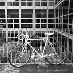 Bike (Valt3r Rav3ra - DEVOted!) Tags: rolleiflex medioformato tlr film analogico bw biancoenero blackandwhite bike ilforddelta400 120 6x6 milano valt3r visioniurbane valterravera streetphotography street persone people milanobicocca universit university