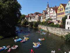 Luma_Bier (Nicote) Tags: tbingen is traditional university town central badenwrttemberg germany it situated 30 km outh state capital stuttgart ridge between neckar ammer rivers as 2014 about one three people living studenttourists tuebingen street luma beer bikini water rave music rubber boat
