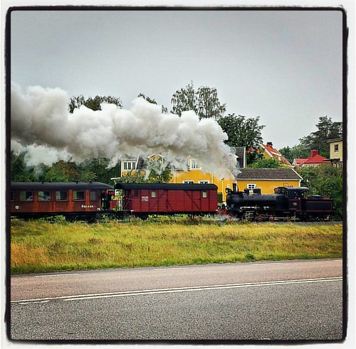 Happy train puff-puff-puffing through the gray morning
