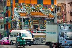 Propane Man (Sound Quality) Tags: street travel blue orange man cars canon thailand design asia dragon traffic bangkok vibrant tricycle culture streetphotography scooter transportation oldcity propane seagreen ancientcity spirit7628yahoocom httpwwwflickrcomphotosmichaelwashingtonphotography