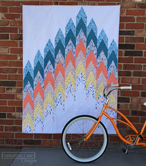 Firelights Lane Cover Quilt (Sassafras Lane Designs) Tags: life blue orange white yellow modern pattern quilt bicycles fabric lane designs cycles sassafras maywood firelights