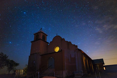 ([ raymond ]) Tags: light newmexico southwest abandoned church night dark stars stainedglass astrophotography lamy americansouthwest img9251