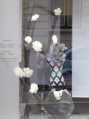 Summer window display (seikinsou) Tags: brussels belgium bruxelles belgique summer shop window hairdresser salon reflection flower white