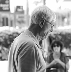 Silver (RICHARD OSTROM) Tags: monochrome man street face metal art america afternoon california sandiego food beer eat europe easy gore