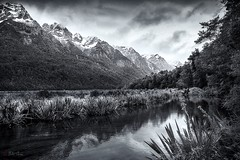 Eglinton Valley. (Bill Thoo) Tags: ngc teanau teanaumilfordhighway southisland newzealand mountain hills lake pond river storm alps eglintonvalley mirrorlakes landscape travel wilderness monochrome blackandwhite sony a900 alpha900 2470mm