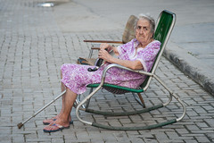 Granny in rocking chair (Havana) (PaulHoo) Tags: cuba havana 2015 lightroom old nostalgic grandma grandmother lady face disabled rocking chair resting nikon d700 age aging outside ilobsterit