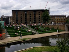 The Grassy Slopes of Kings Cross (My photos live here) Tags: city england urban london grass square town canal cross camden capital steps artificial kings regents granary slopes