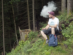 Mountain Vapour (the underlord) Tags: kitzbhel austria vaping resting hike hiking stump tree mountain