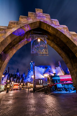 Midnight Train (Tyler Bliss) Tags: universal studios resort island adventure diagon alley wizard wizarding world harry potter hogsmeade station hogwarts expres express train street pavers shops store front keep explore dark ride theme park jk rowling cursed child tylerbliss nikon long exposure attraction