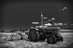 ...ShockTechnology... (7H3M4R713N) Tags: fujinon1024mm xt1 olienne windturbine nature tractor field blackandwhite monochrome bw blackwhite romandie suisse switzerland swiss europe birdshredder