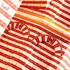 red-archi-europe-building-brick red-bulgaria Rila monastery-201-square-sig (Touma) Tags: europe architecture urban color bulgaria bulgarie holiday vacation red rila monastery touma toumay art  monastre  building brick church
