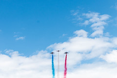 French Flyover (PauloRossi) Tags: europa europe france frana paris airshow airplane flag french celebration sky clouds military flyover