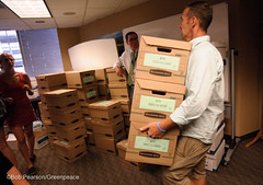 Boxes and Boxes of Signatures (Greenpeace USA 2016) Tags: colorado ban fracking petition truck delivery fossilfuel oil gas denver coalition