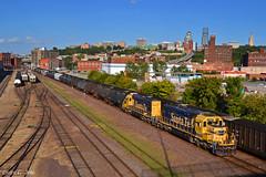"Westbound Transfer in Kansas City, MO (""Righteous"" Grant G.) Tags: bnsf railway railroad locomotive train trains west westbound atsf santa fe kansas city missouri up union pacific emd power transfer yard job"