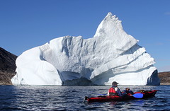 Eric Chazal gives the scale of this big Iceberg (twiga269  FEMEN #JeSuisCharlie) Tags: twiga269 om  whatareyoutrainingfor gettingstrongereveryday wanderlust wilderness mountainwilderness mw gngl grandnordgrandlarge gro023 greenland kalaallit nunaat kalaallitnunaat disko bay baiededisko diskobugten ilulissat qeqertaq saqqaq groenland grnland groenlandia grnland grenlandia   kyak iceberg ice hielo glace glacier immense gletscher ericchazal arctic diskoline inlandsis torssukatak eqi eqip sermia iceisbeautiful