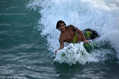 Sidewaves (Pedestrian Photographer) Tags: ocean boy man male beach wall hawaii surf pacific waikiki oahu board tan may wave boogie hi thewall boarding ribbet 2015 dsc4971 dsc4971b
