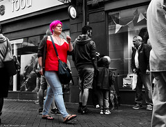 Outstanding ! (Neil. Moralee) Tags: street uk red bw woman white black girl hair nikon different purple bright zoom candid crowd neil pop devon colou popping teignmouth 18300mm poping colourpopping d7100 colorpopping moralee neilmoralee teignmouth2016neilmoralee outstandidng