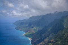 Na Pali Coast :: 1 (Adam Claeys) Tags: ocean blue sea sky mountains green beach clouds landscape hawaii coast fly flying high horizon dream aerial na helicopter kauai dreamy walls pali depth heli dreamscape