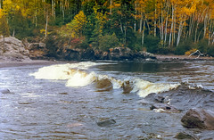 Temperance Shore (FlappinMothra) Tags: lake superior temperance river state park shore waves fall colors scan honeywell pentax sp1000 35mm schroeder minnesota minn mn