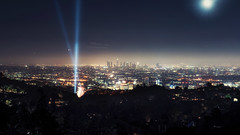 Hollywood, CA (DesmondsPhotos) Tags: california city longexposure sky panorama moon mountains skyline night stars landscape lights losangeles cityscape pano hollywood lighttrails a7rii