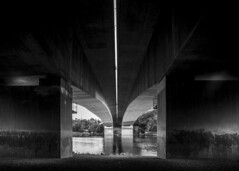bridge (Larson.patrik) Tags: bridge light white black tree water stone contrast train dark graffiti stockholm transport massive blacknwhite danderyd stocksund