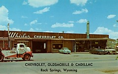 Whisler Chevrolet Co., Rock Springs WY, 1960 (aldenjewell) Tags: whisler chevrolet rock springs wy wyoming dealership showroom postcard 1960 cadillac oldsmobile
