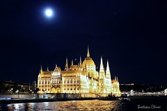 Budapest. Hungary. (Svitlana Clover) Tags: city blue vacation sky moon reflection yellow night river hungary tour budapest journey seafront canoneos550d