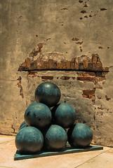 Cannon balls (Pedro1742) Tags: cannonballs metal wall texture history bricks clickcamera