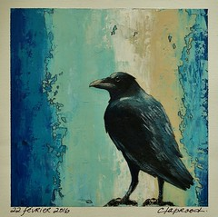22 fvrier 2016 - February 22, 2016 (marieclaprood) Tags: bird crow black art painting acrylic decor contemporary nature marieclaprood claprood blue acrylicpainting birdart birdpainting artwork dailypainting abstractbackground originalart blackbird illustration
