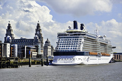 Celebrity Silhouette .. (Elaine 55.) Tags: cruise celebritysilhouette princessparade liverpool threegraces pierhead ship rivermersey