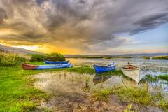 Sunset Boats (Nejdet Duzen) Tags: turkey turkei manisa trkiye boat sandal sunset gnbatm lake gl nature doa cloudy bulut reflection yansma travel seyahat golmarmara gl