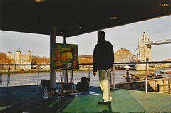 Stephen B. Whatley Painting Tower Bridge. 2000 (Stephen B. Whatley) Tags: art expressionism london toweroflondon towerbridge riverthames uk 2000 millennium man male artist contrast toweroflondonpaintings towerhillunderpass towerhill stephenbwhatley artiststephenbwhatley whatley artiststephenwhatley stephenwhatley theroyalcollection bbc bbcheritage painter contemporaryart modernart modernpainting tower londonbridge sunshine sunset evening river city cityscape thewhitetower anawesomeshot abigfave blueribbonwinner