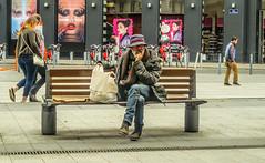 dare I  or  dare I not_ (Jan Herremans) Tags: france janherremans june2016 lyon candid bench homeless shopping